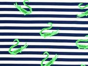 Jersey Streifen Krokodile, neongrün blau weiß