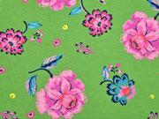 French Terry Sweat Blumen, rosa grün