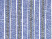 Baumwolle Leinen Streifen, weiß dunkelblau blau