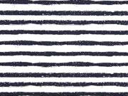 Baumwollstoff unregelmäßige Streifen, schwarz weiß