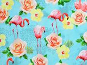 Jersey Digitaldruck Flamingos Blumen Leopardenmuster, türkis