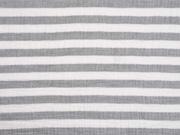 Musselin Streifen, cremeweiß grau