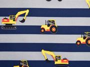 Softshell Stoff  Streifen Bagger Traktoren, dunkelblau grau