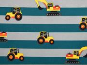 Softshell Stoff  Streifen Bagger Traktoren, petrol grau