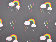 Softshell Regenbogen Tropfen Wolken, grau