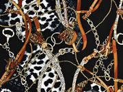 Viskosetwill Ketten Lederriemen Quasten Animal Print, cognac schwarz