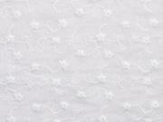 RESTSTÜCK 79 cm Baumwollstoff bestickt Blumenranken, weiß