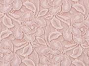 elastische Spitze mit Baumwolle Blumen, cremeweiß altrosa
