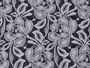 elastische Spitze mit Baumwolle Blumen zweifarbig, grau schwarz