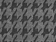 Strickstoff Chenille Hahnentritt, schwarz dunkelgrau