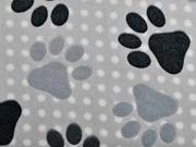 Wellness Fleece Jacquard Hundepfoten, hellgrau