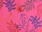 Alpenfleece Sweat bunte Blätter, pink meliert