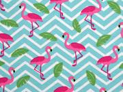 Jersey Flamingos Zickzack, pink helles aquamarin