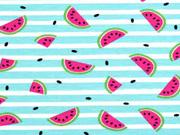 Jersey Melonen Streifen, weiß helles aquamarin