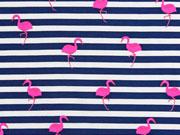 Jersey Streifen Flamingos, neonpink dunkelblau weiß
