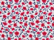 Baumwollstoff Mohnblumen Blumenwiese, weiß