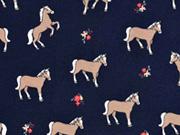 Jersey Pferde Blümchen, dunkelblau