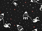 Jersey Stoff Raketen Astronauten Weltall, weiß schwarz