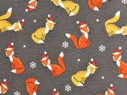 Jersey Weihnachtsfüchse, taupe