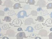 Interlock-Jersey Elefanten, hellblau cremeweiß