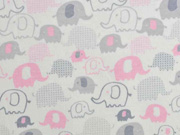 Interlock-Jersey Elefanten, rosa cremeweiß