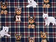 Jersey Digitaldruck Schottenkaro mit Hunden