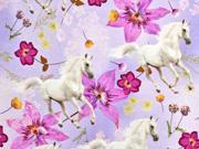 Jersey Digitaldruck Pferde Blumen, flieder