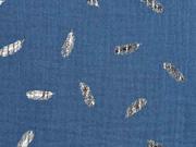 Musselin Double Gauze Federn Kupfer metallic, jeansblau