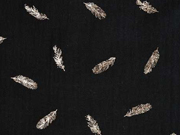 Musselin Double Gauze Federn Kupfer metallic, schwarz