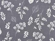 Baumwollstoff Blumen und Zweige, weiss grau