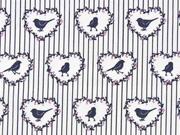 Baumwollstoff Vögel Herzen Streifen, grau rosa weiss
