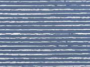Jerseystoff Streifen blurry stripes, weiß jeansblau