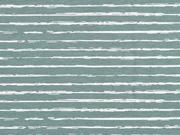 RESTSTÜCK 20 cm Jersey Streifen blurry stripes, weiß altmint