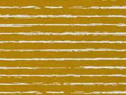 RESTSTÜCK 29 cm Jersey Stoff Streifen blurry stripes, weiss ocker