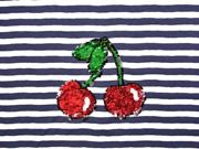 Jersey Panel Streifen Kirschen Wendepailletten, dunkelblau weiß