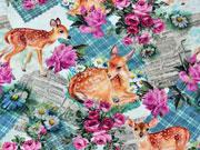 Jersey Rehe Rosen Zeitungsdruck Digitaldruck, braun mint