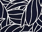 Viskose Blätter Konturen, weiss dunkelblau