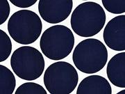 Viskose Satin Stoff Kreise Punkte, dunkelblau weiß