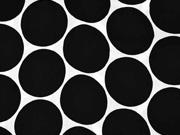 RESTSTÜCK 43 cm Viskose Satin Stoff Kreise Punkte,schwarz weiß
