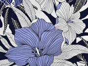 Viskose Crepe Stoff Blumen, jeansblau dunkelblau weiß