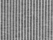 RESTSTÜCK 39 cm Leinen Viskose Nadelstreifen,schwarz meliert