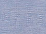 T-Shirtstoff Piqueestruktur uni, jeansblau meliert