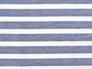 T-Shirtstoff Piqueestruktur Streifen, weiss rauchblau