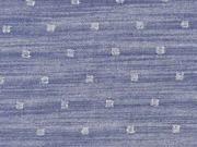 Viskose Jeanslook Glitzer Quadrate, silber jeansblau