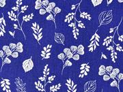 Baumwollstoff Blumen und Zweige, weiss marineblau