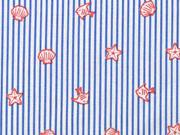 Baumwollstoff Seesterne Muscheln Streifen, coralle jeansblau weiß