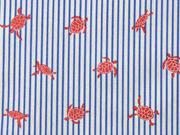 Baumwollstoff Schildkröten Streifen, coralle jeansblau weiß