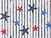 Baumwollstoff Seesterne Streifen, rot dunkelblau weiß