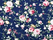 Baumwollstoff Blumen Bouquet Ranken, rosa dunkelblau