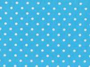 RESTSTÜCK 26 cm Baumwollstoff Punkte 2 mm, weiß türkis